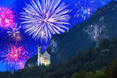 New Year fireworks display in Bavarian Alps — Stock Photo