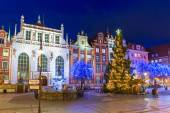 Christmas tree and decorations in old town of Gdansk — Stock Photo