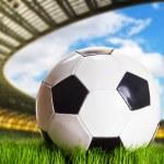 Soccer ball on the stadium — Stock Photo #62426911