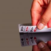 Four aces in the hand — Stock Photo