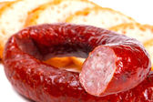 Traditional Polish smoked sausage — Stok fotoğraf