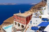 White architecture of Fira town on Santorini island — Stock Photo
