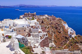 Santorini island with white buildings, Greece — Stock Photo