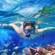 Snorkeling in the tropical water — Stock Photo #64894779