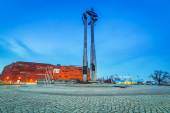 Three crosses monument at the European Solidarity square in Gdansk — Stock Photo