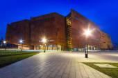 Rusty steel building of European Solidarity Museum in Gdansk — Stock Photo