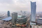 Aerial view of the city center in Warsaw , Poland — Stock Photo