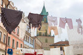 Drying clothes as the decoration of old town in Lublin — Stock Photo