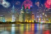 Fireworks displayon the sky in Dubai city — Stock Photo