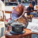 Antique gramophone on the street market — Stock Photo #70717687