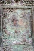 Reliefs on doors to the Cathedral at the Leaning Tower of Pisa — Stock Photo