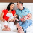 Happy parents with twins — Stock Photo #77880478