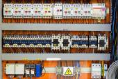 Control panel with static energy meters and circuit-breakers (fuse) — Stock Photo