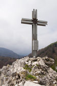 Cross on high mountain Drachenloch in Austria — Stock Photo
