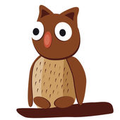 Cute brown owl with big eyes on a white background  — Stock Vector