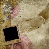 Vintage pozadí s rámy, růže, krajky, text, miluji tě, ha — Stock fotografie