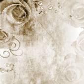玫瑰和珍珠的美丽婚纱背景 — 图库照片