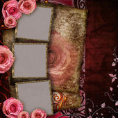 Vintage background with roses and 3 frames — Stock Photo