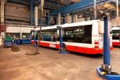 Buses in workshops in Depot Hostivar, Prague — Stock Photo
