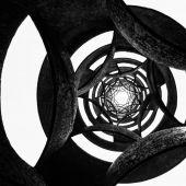 Fundo circular preto e branco — Fotografia Stock