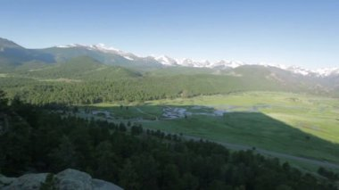 Aerial view on Moraine Park, Rocky Mountain National Park, USA — Stock Video