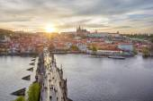 Aerial view of Charles Bridge and Prague Castle — Stock Photo