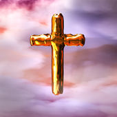 Golden Cross in Clouds — Stock Photo
