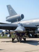 F-16 fighter compared to kc-10a — Photo