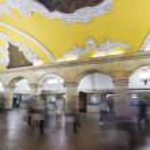 MOSCOW   metro station Komsomolskaya, Russia. Metro station Komsomolskaya is a great monument of the Soviet era. — Stock Photo #56125139