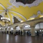 MOSCOW   metro station Komsomolskaya, Russia. Metro station Komsomolskaya is a great monument of the Soviet era. — Stock Photo #56125165