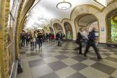 MOSCOW metro station Novoslobodskaia, Russia. Metro station Novoslobodskaia is a great monument of the Soviet era. — Fotografia Stock