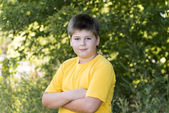 Portrait of 10-year-old boy in  park — Stock Photo