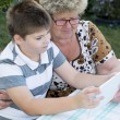 Granny with grandson watching tablet in nature — Stock Photo #56648929