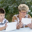 Granny with grandson watching tablet in nature — Stock Photo #56648977