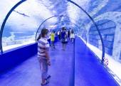 Antalya, Turkey-1 September 2014 People in the  aquarium. IT  is  longest of  world panoramic tunnel with alength  131 meters — Stock fotografie