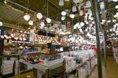 Moscow, Russia - March 5, 2015 Chandeliers in chain stores OBI. German retail chain stores of construction and household goods belonging to  company OBI GmbH and Co. — Stock Photo
