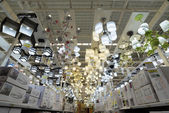 MOSCOW, RUSSIA - March 3, 2015 Chandeliers of the Leroy Merlin Store. Leroy Merlin is a French home-improvement and gardening retailer serving thirteen countries — Stock Photo