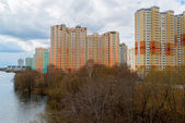 KRASNOGORSK, RUSSIA - APRIL 18,2015. Krasnogorsk is city and center of Krasnogorsky District in Moscow Oblast located on Moskva River. Area of residential development is about 2 million square feet — Stock Photo