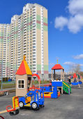 KRASNOGORSK, RUSSIA - APRIL 22,2015: Krasnogorsk is city and center of Krasnogorsky District in Moscow Oblast located on Moskva River. Area of residential development is about 2 million square feet — Стоковое фото