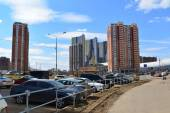 KRASNOGORSK, RUSSIA - APRIL 22,2015: Krasnogorsk is city and center of Krasnogorsky District in Moscow Oblast located on Moskva River. Area of residential development is about 2 million square feet — Stock Photo