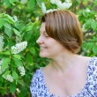 Adult woman near blossoming bird cherry in the park — Stock Photo #73163191