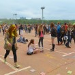 Постер, плакат: MOSCOW RUSSIA MAY 23 2015: Festival of colors Holi in the Luzhniki Stadium Roots of this fest are in India where it called Holi Fest Now russian people celebrate it too