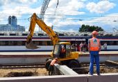 MOSCOW, RUSSIA - 17.06.2015. Reconstruction of  railway at the Leningrad station. — Stock Photo