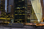 Mosca, RUSSIA - 23.03.2015 The Moscow International Business Center, Moscow-City on September 17, 2012 in Moscow. Located near the Third Ring Road, the Moscow-City area is currently under development. — Stock Photo