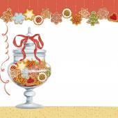 Christmas cookies in glass vase — Stock Vector
