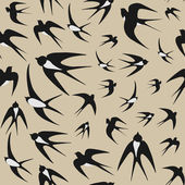 Seamless background with swallows — Stock Vector