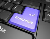 Keyboard with authorise button — Stock Photo