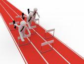 3d man run to target leader concept — Stock Photo