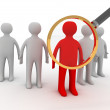 3d people - man, person and a big magnifier. — Stock Photo #74401449