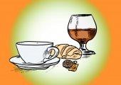Coffee and cognac — Stock Photo